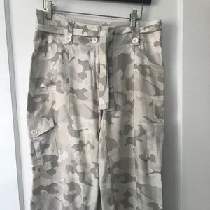 White House Black Market Grey Camo Silk Pants